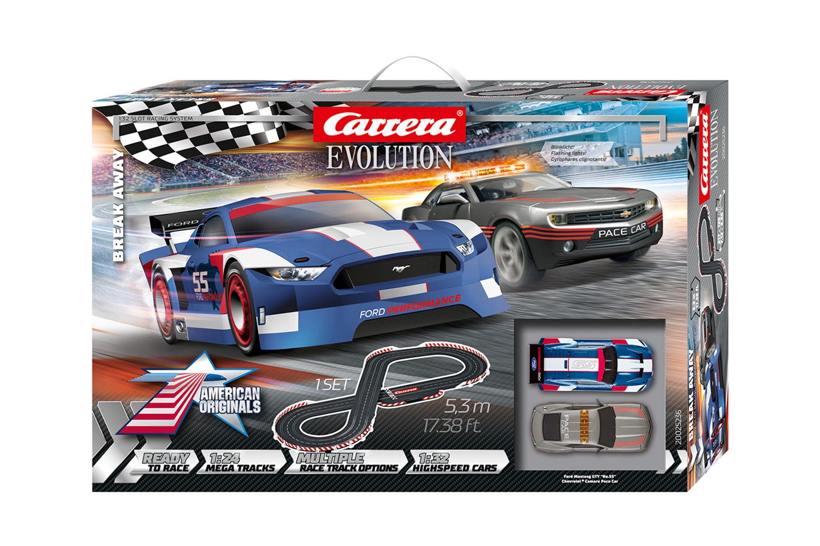 Carrera Evolution Grundpackung 25236 Break Away Ford Mustang GTY Chevrolet Camaro Pace Startpackung
